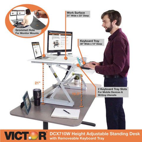 "Victor DCX710W High Rise™ Height Adjustable Standing Desk 31"" Wide White"