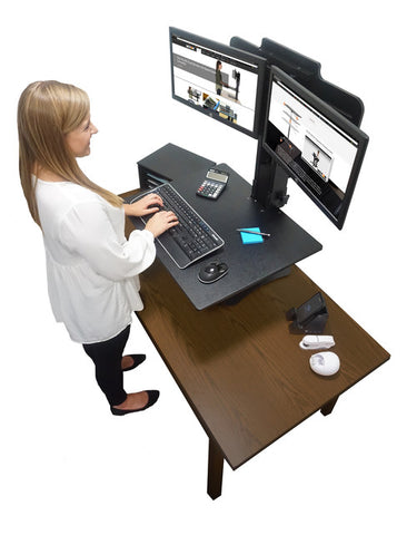 "Victor DC350 High Rise™ Manual Dual Monitor Sit Stand Standing Desk Converter 28"" Black - Standing Desk Center"