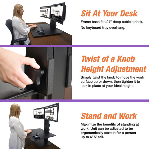 "Victor DC350 High Rise™ Manual Dual Monitor Sit Stand Standing Desk Converter 28"" Black"