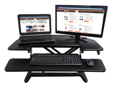"Victor DCX650 High Rise™ Corner Sit Stand Workstation with Keyboard Tray 36"" Black"