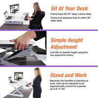 "Victor DCX760W High Rise™ Height Adjustable Standing Desk 36"" Wide White"