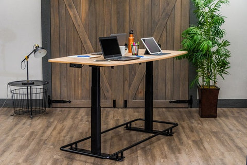 "Luxor STANDECTFB72WO 72"" Electric Height Adjustable Conference Table with Footrest Bar - Standing Desk Center"