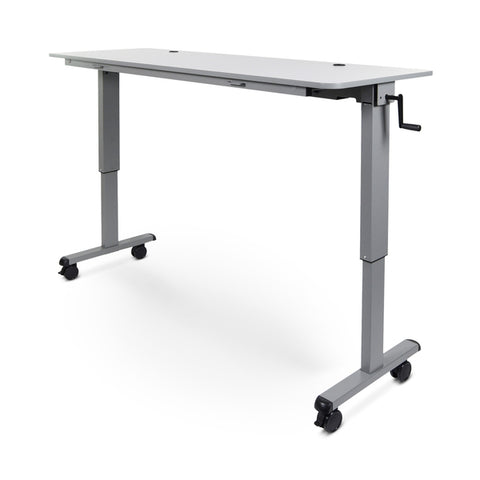 "Luxor STAND-NESTC-72 72"" Adjustable Height Flip-Top Desk w/ Crank Handle - Standing Desk Center"