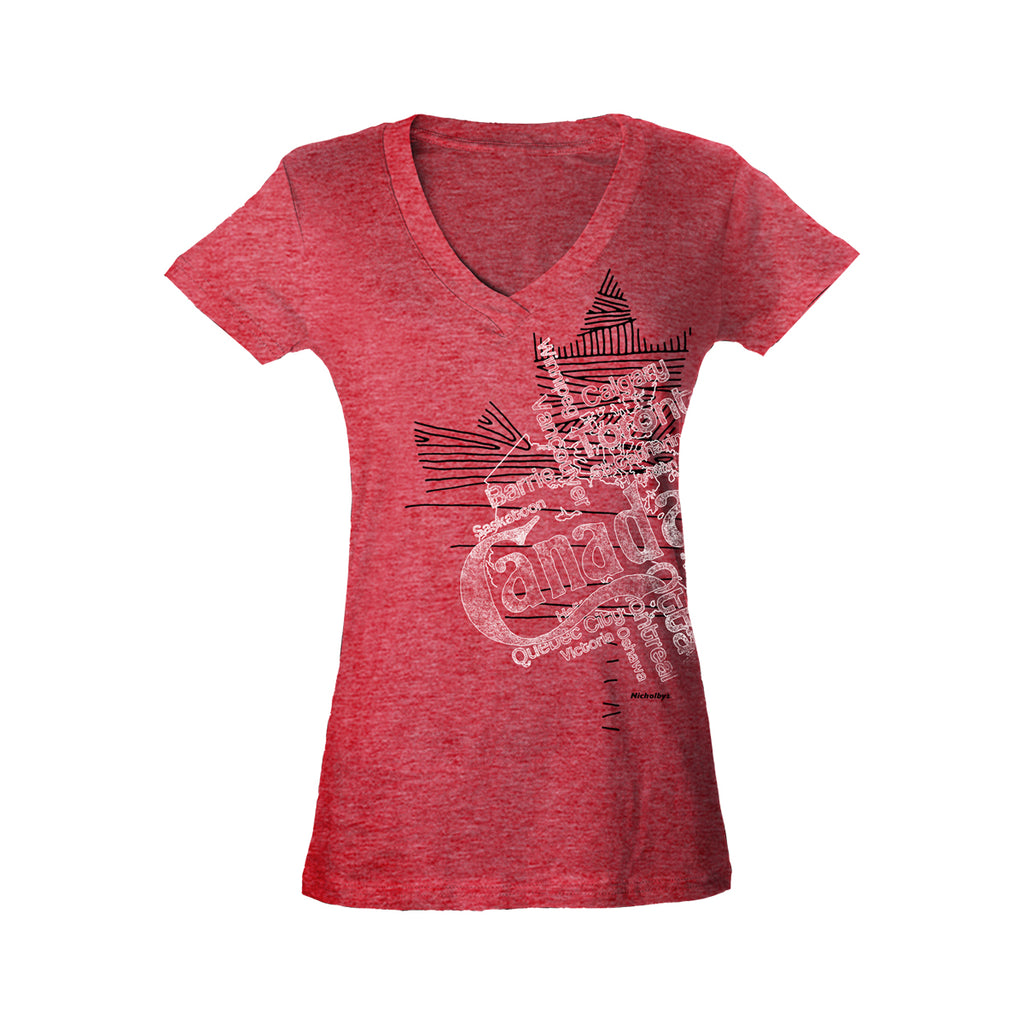 Ladies Red Heather v-neck t-shirt