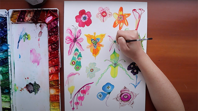 How I watercolor flowers with my style