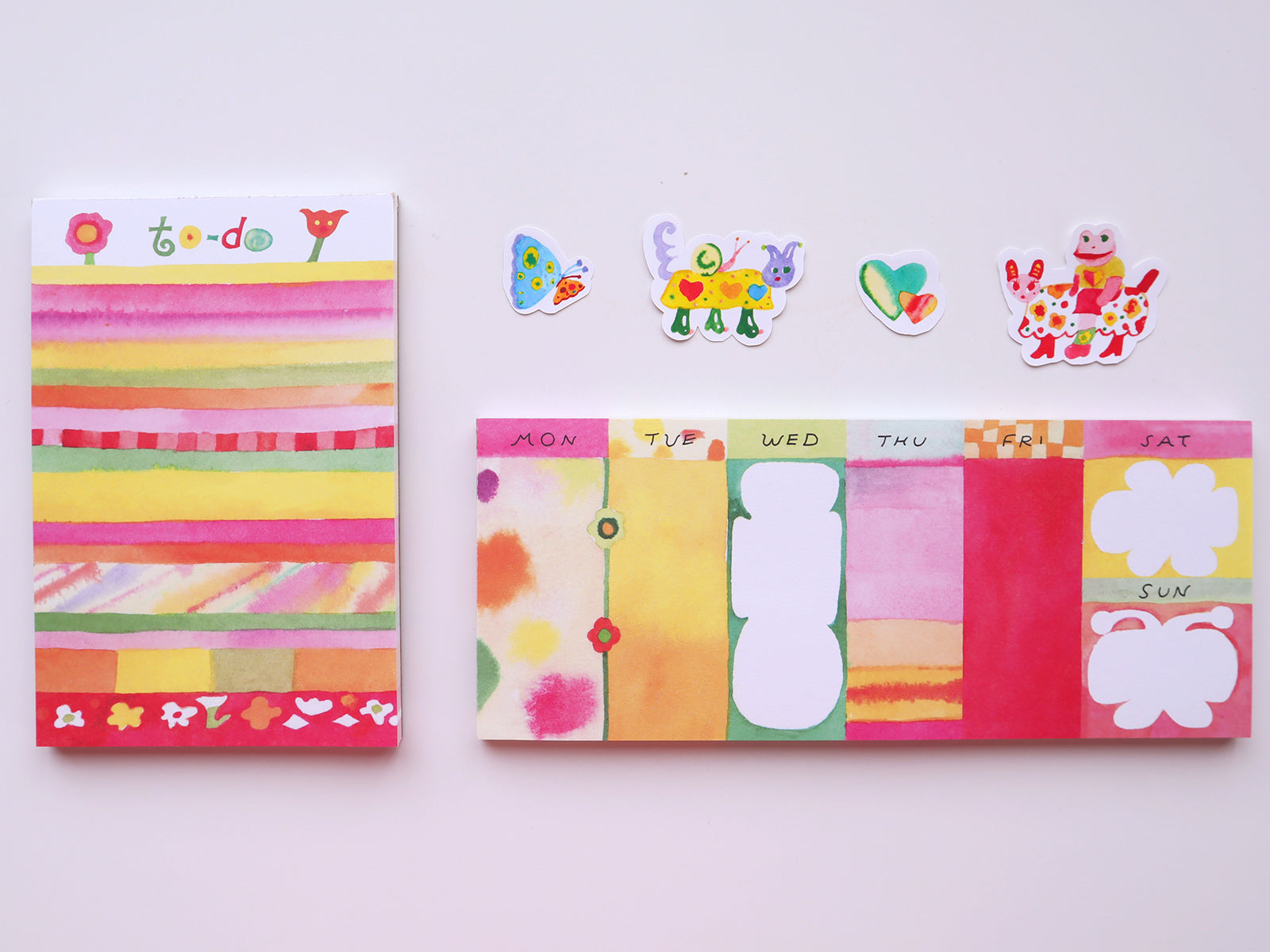 weekly notepads with cute stickers
