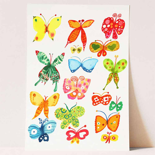 Rainbow butterfly art print for bedroom deco