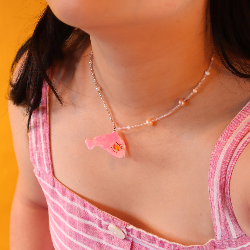 Pink Dolphin Necklace