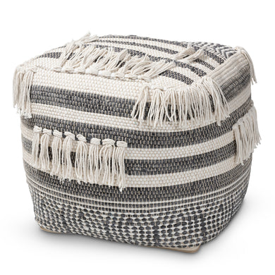 MOROCCAN GREY AND IVORY HANDWOVEN COTTON POUF OTTOMAN, available 1/22 - Annelisse's