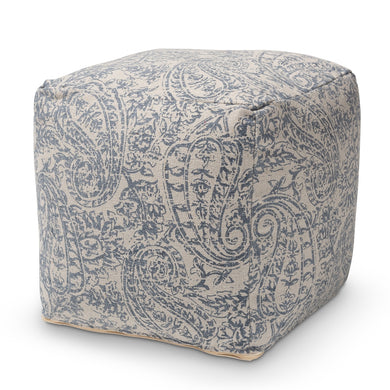 COTTON PAISLEY POUF OTTOMAN, available 1/22 - Annelisse's