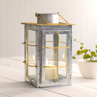 Caged Galvanized and Brass Trim Lantern - Annelisse's