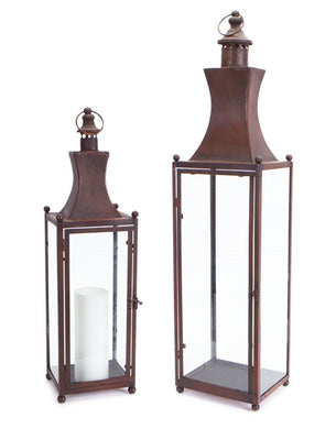 RUSTIC LANTERN W/GLASS (SET OF 2) - Annelisse's