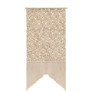 Cream patterned macrame wall hanging - Annelisse's