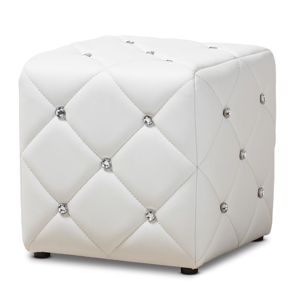 MODERN WHITE FAUX LEATHER UPHOLSTERED OTTOMAN, available 2/17 - Annelisse's
