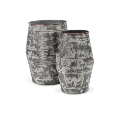 Set of 2 galvanized barrel planters - Annelisse's