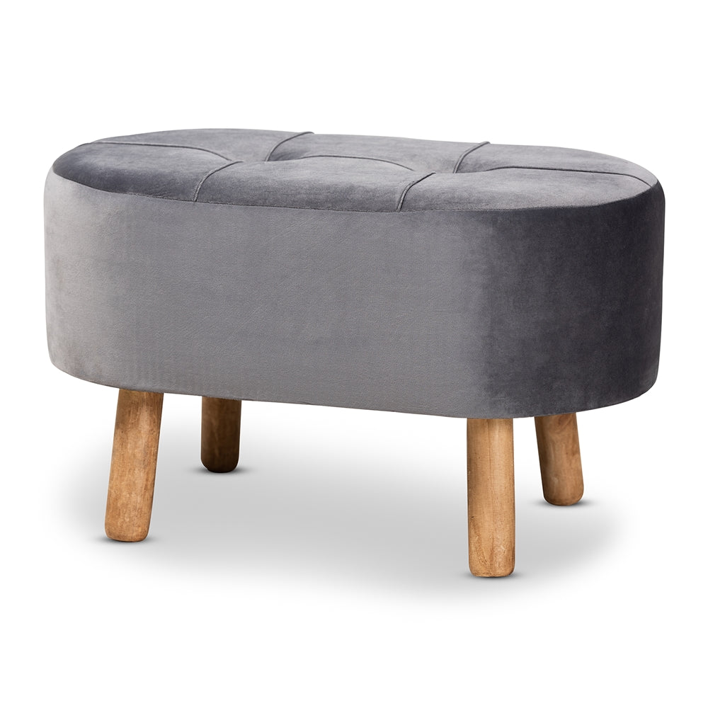 Grey velvet and wood ottoman, available 2/15 - Annelisse's