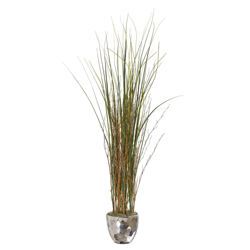 "40"" Grass And Bamboo Artificial Plant In Designer Silver Bowl - Annelisse's"