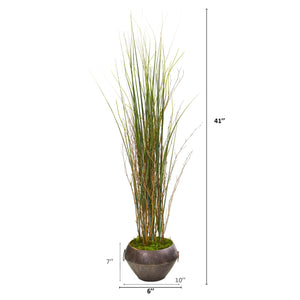 "41"" Grass and Bamboo Artificial Plant in Metal Bowl - Annelisse's"