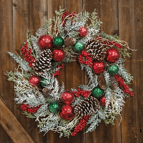 Deck the halls snowy wreath with ornaments - Annelisse's