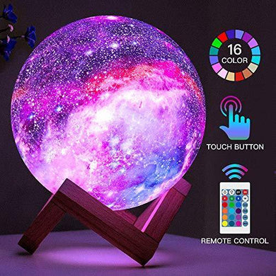 16 Colors Galaxy, Star Moon Light with Wood Stand, Remote & Touch Control - Annelisse's