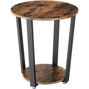 Farmhouse Rustic Round Side Table Nightstand End Table - Annelisse's