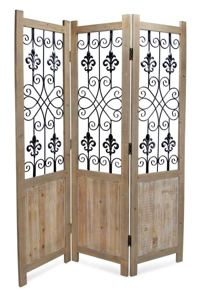 Handcrafted Wooden Room Divider with Accents - Annelisse's