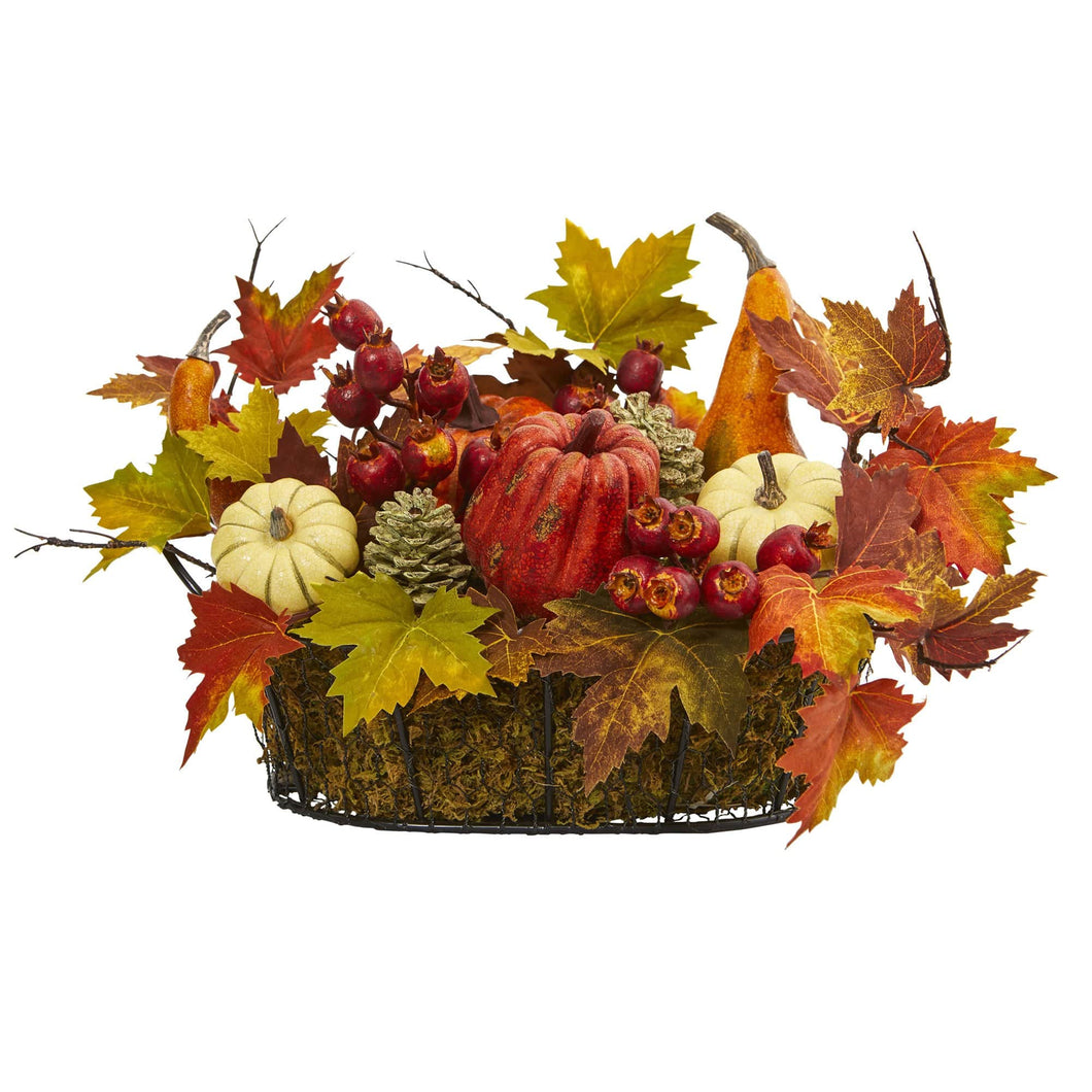Pumpkin, Gourd, Berry And Maple Leaf Artificial Arrangement - Annelisse's