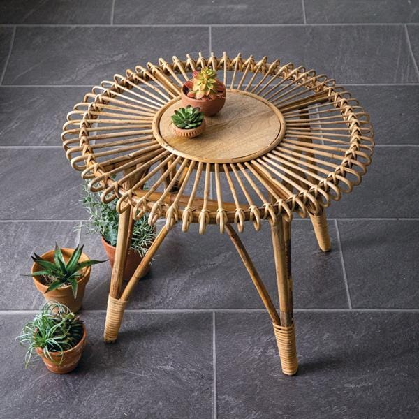 rattan side table (freight shipping, see details below) - Annelisse's