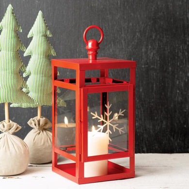 Red snowflake etched lantern (selling fast!! Limited quantities) - Annelisse's