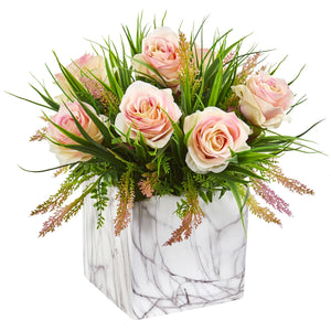 Roses & Grass Artificial Arrangement in Marble Finished Vase - Annelisse's