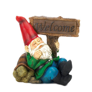 Sleepy Solar Garden Gnome with Light up Welcome sign - Annelisse's