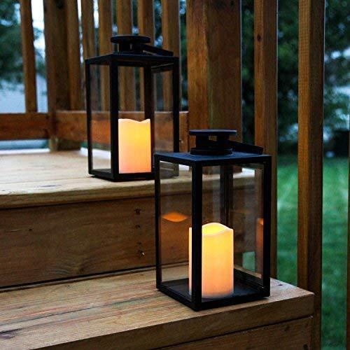 Vintage Decorative Candle Lantern - Black Metal & Glass with Candles - Annelisse's
