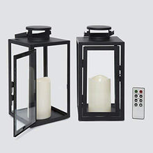 Load image into Gallery viewer, Vintage Decorative Candle Lantern - Black Metal & Glass with Candles - Annelisse's