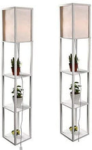 Load image into Gallery viewer, Shelf Floor Lamp, White Shade, 63 Inch Height, with Open-Box Shelves, White (set of 2) - Annelisse's