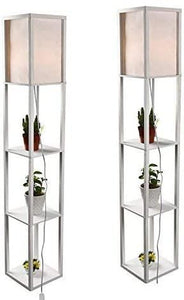 Shelf Floor Lamp, White Shade, 63 Inch Height, with Open-Box Shelves, White (set of 2) - Annelisse's