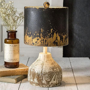 Wood Base Tabletop Lamp with Metal Shade - Annelisse's