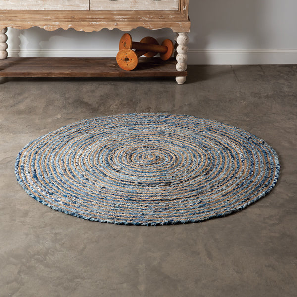 Ibiza Blue Handwoven Round Area Rug, avail 2/17/21--preorder - Annelisse's