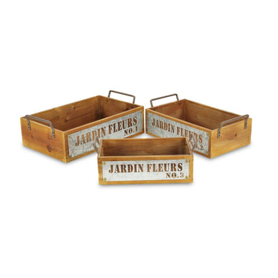 Jardin Fleurs Set of 3 Wood Metal Stamped Crat - Annelisse's