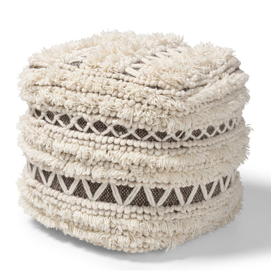 Handwoven wool pouf, available 1/22 - Annelisse's