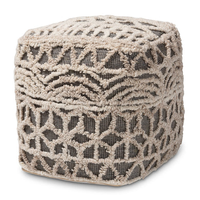 MOROCCAN INSPIRED BEIGE AND BROWN HANDWOVEN COTTON POUF OTTOMAN - Annelisse's