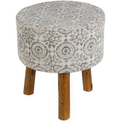 Charcoal patterned footstool - Annelisse's