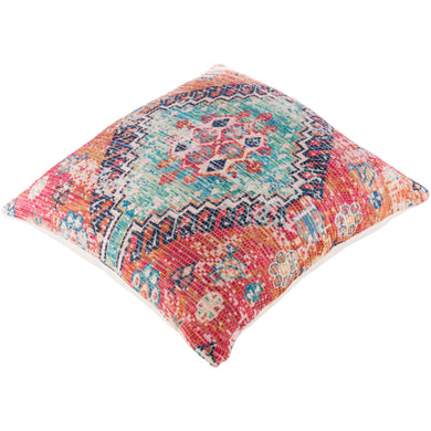 Red BOHO floor pillow with down insert - Annelisse's