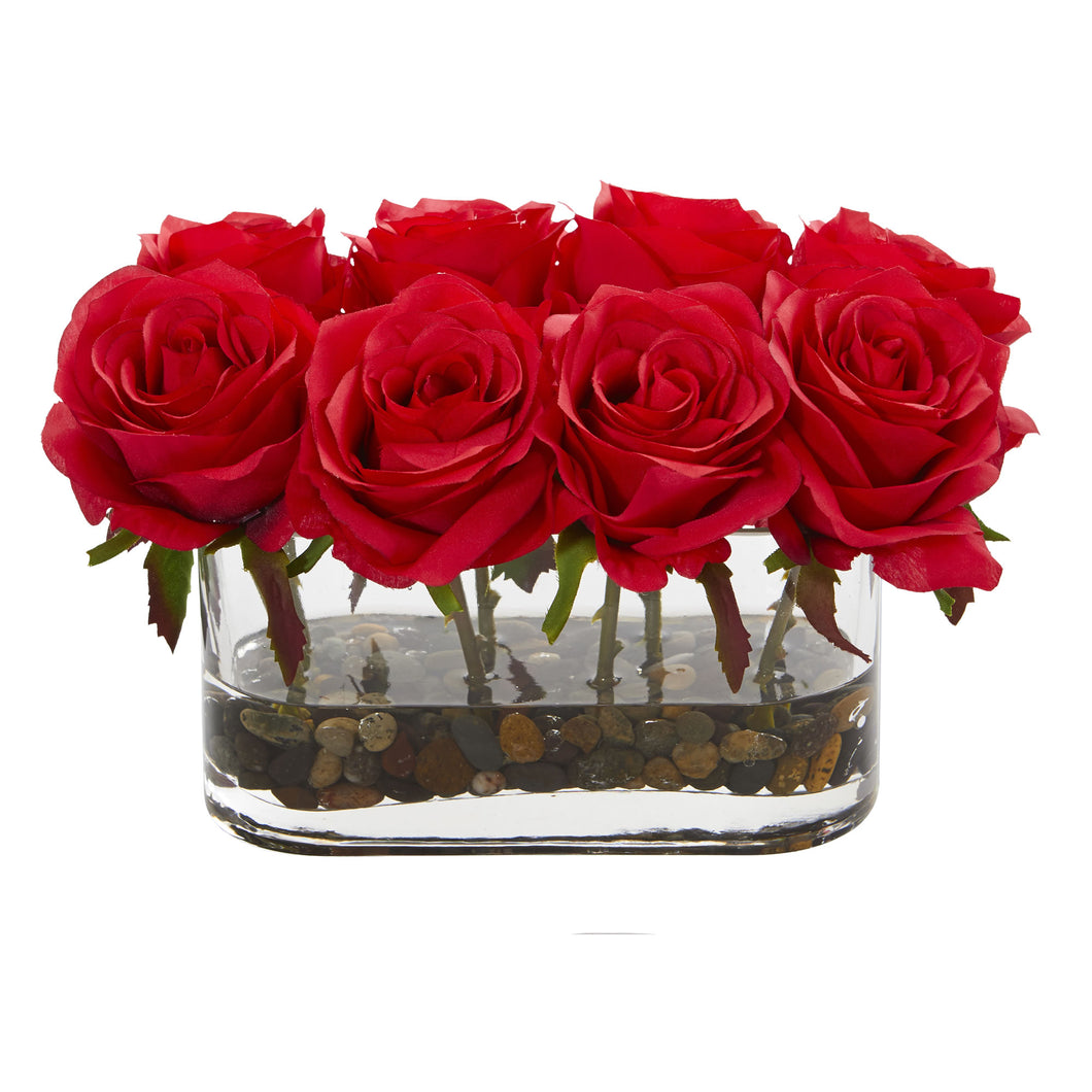 "5.5"" Blooming Roses In Glass Vase Artificial Arrangement - Annelisse's"