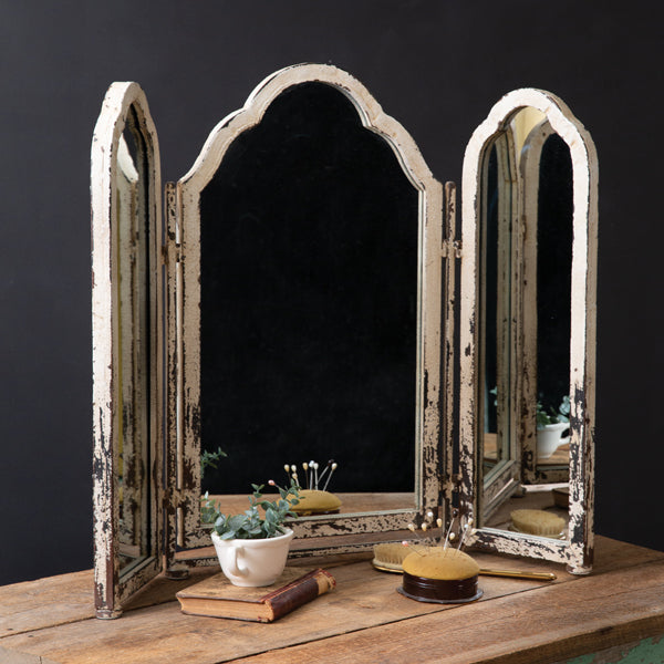 Rustic Tri-Fold Tabletop Mirror, available 3/17/21-preorder - Annelisse's