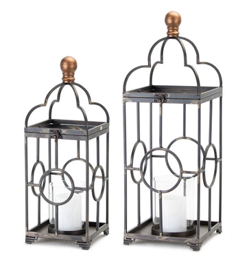 Set of 2 Iron and Glass Lanterns - Annelisse's