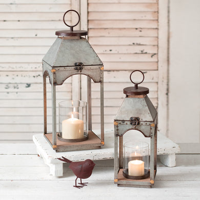 Set of Two Galvanized Candle Lanterns with Wood Base - Annelisse's