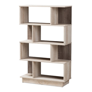 MODERN AND CONTEMPORARY OAK FINISHED DISPLAY BOOKCASE - Annelisse's