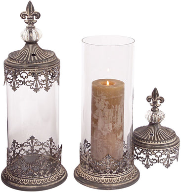 VICTORIAN STYLE CANDLE HOLDER W/LID (SET OF 2) - Annelisse's