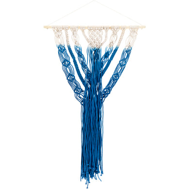 Royal blue ombre macrame wall art - Annelisse's