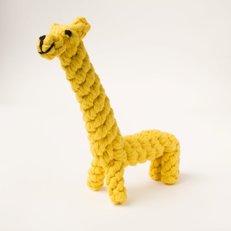 Willow Walks giraffe dog rope toy in yellow
